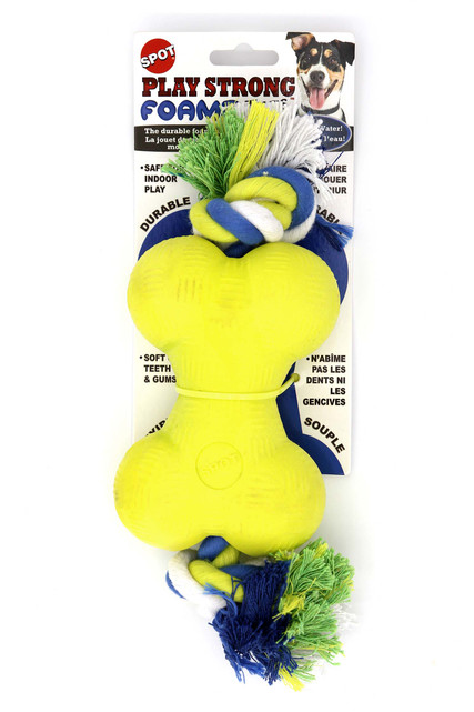 Spot Foam Rubber Bone with Rope Dog Toy