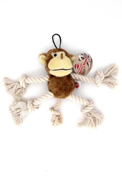 Plush Moppet Monkey and Rope Squeaky Dog Toy