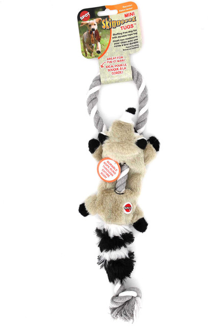 Spot Skinneeez Mini Raccoon on a Rope Tug Dog Toy