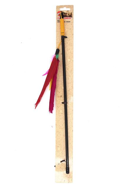 Spot Feather Dangler Teaser Wand Cat Toy