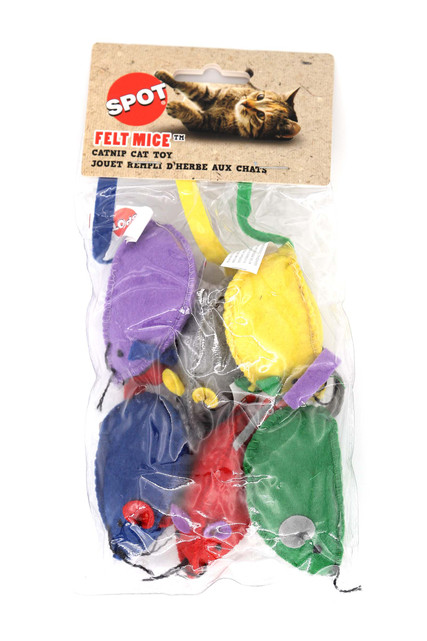 Spot Colorful Felt Mice with Catnip Cat Toys - 6 Pack