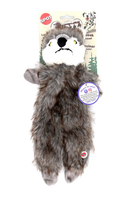 Spot Furzz Plush Wolf Squeaky Dog Toy