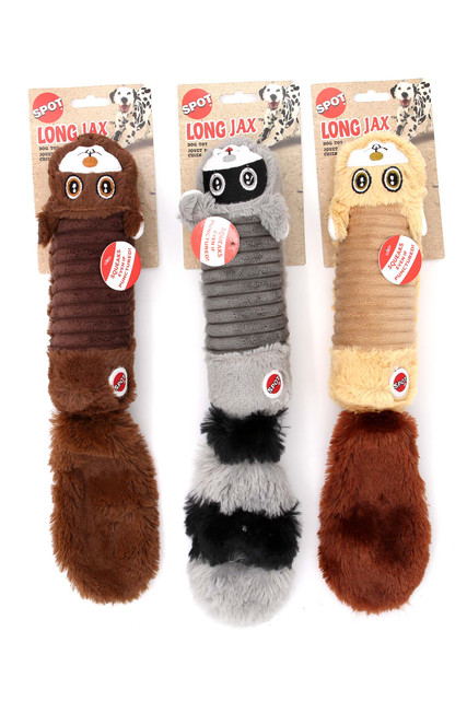 Spot Long Jax Cylinder Plush Squeaky Dog Toy - Assorted Animal Styles