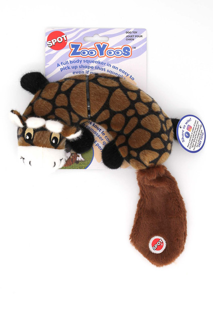 Spot Zooyoos Crescent Animal Plush Dog Toy with Full Body Squeaker - Assorted Animal Styles