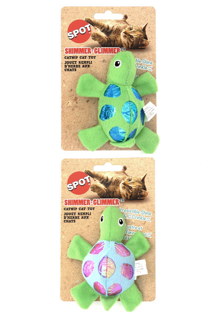 Shiny Plush Turtle Catnip Crinkle Cat Toy