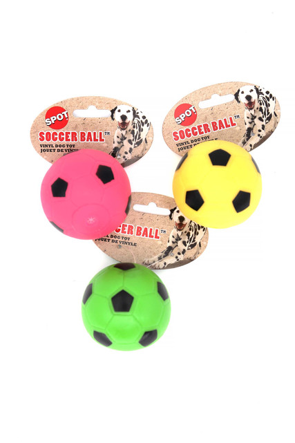 Spot Vinyl Soccer Ball Squeaky Dog Toy - Assorted Colors