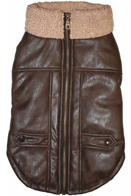 Brown Faux Leather Bomber Dog Jacket with Sherpa Trim by Fashion Pet