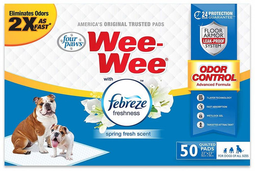 "50 Count Four Paws Wee-Wee Dog Pads with Febreze Freshness - Spring  Fresh Scent - 22"" x 23"""