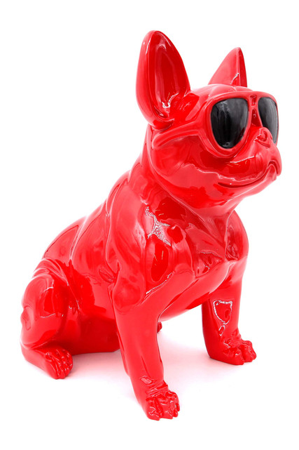 Red Bulldog in Sunglasses Sitting Life Like Model Effigy