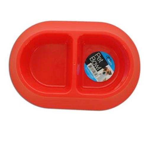Double Feeder Plastic Pet Bowl