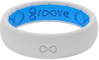 Groove Life Thin Solid Snow White Silicone Wedding Ring with blue insert