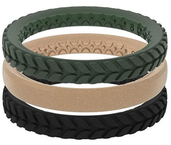 Groove Life Aspen Stackable green, gold, black Silicone Rings