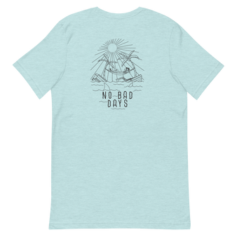 Ice Blue Graphic T Shirt. Ship sinks and skeleton relaxing. Design on back