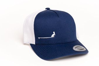 Navy blue with white mesh snapback with Socio Surf logo.