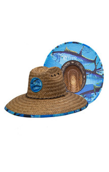 Peter Grimm Lifeguard Straw Hat with Tuna Batch and Print