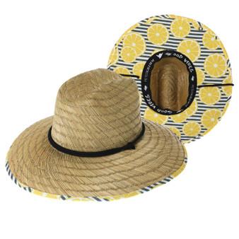 Peter Grimm Lemonade Straw Lifeguard Hat