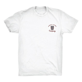 Tiki Time T-shirt by Sandbar Clothing Company. Featuring white shirt with Tiki head print logo over chest and large print on back. Sold by Socio Surf Co.