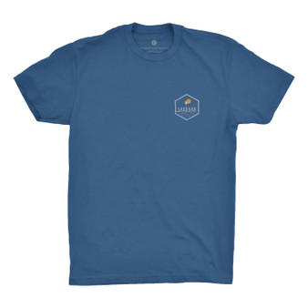 The Sunset T-shirt by Sandbar Clothing Company. Blue shirt with white/yellow logo. Sold by Socio Surf Co