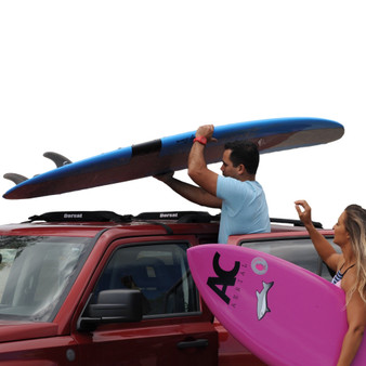 """DORSAL Wrap-Rax Surfboard Soft Roof Rack Pads with Tie Down Straps, 19/28"""" Long (Pair), Universal Car Roof Rack for Longboard, Paddleboard, Snowboard, Canoes, SUP, Kayak"""