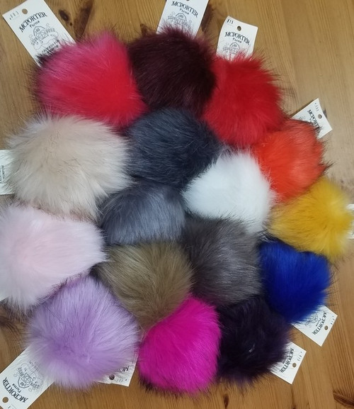 Mini Faux Fox Fur Pom-Poms by McPorter Farms
