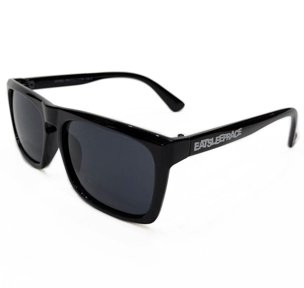 Logo Flat Top Sunglasses   Gloss Black/Black (UV400)   Pouch