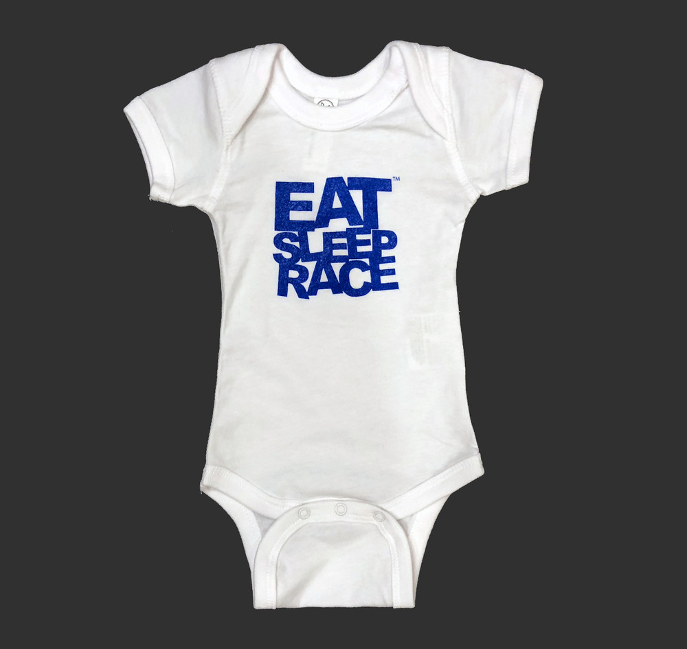 Infant One Piece Logo | White/Blue