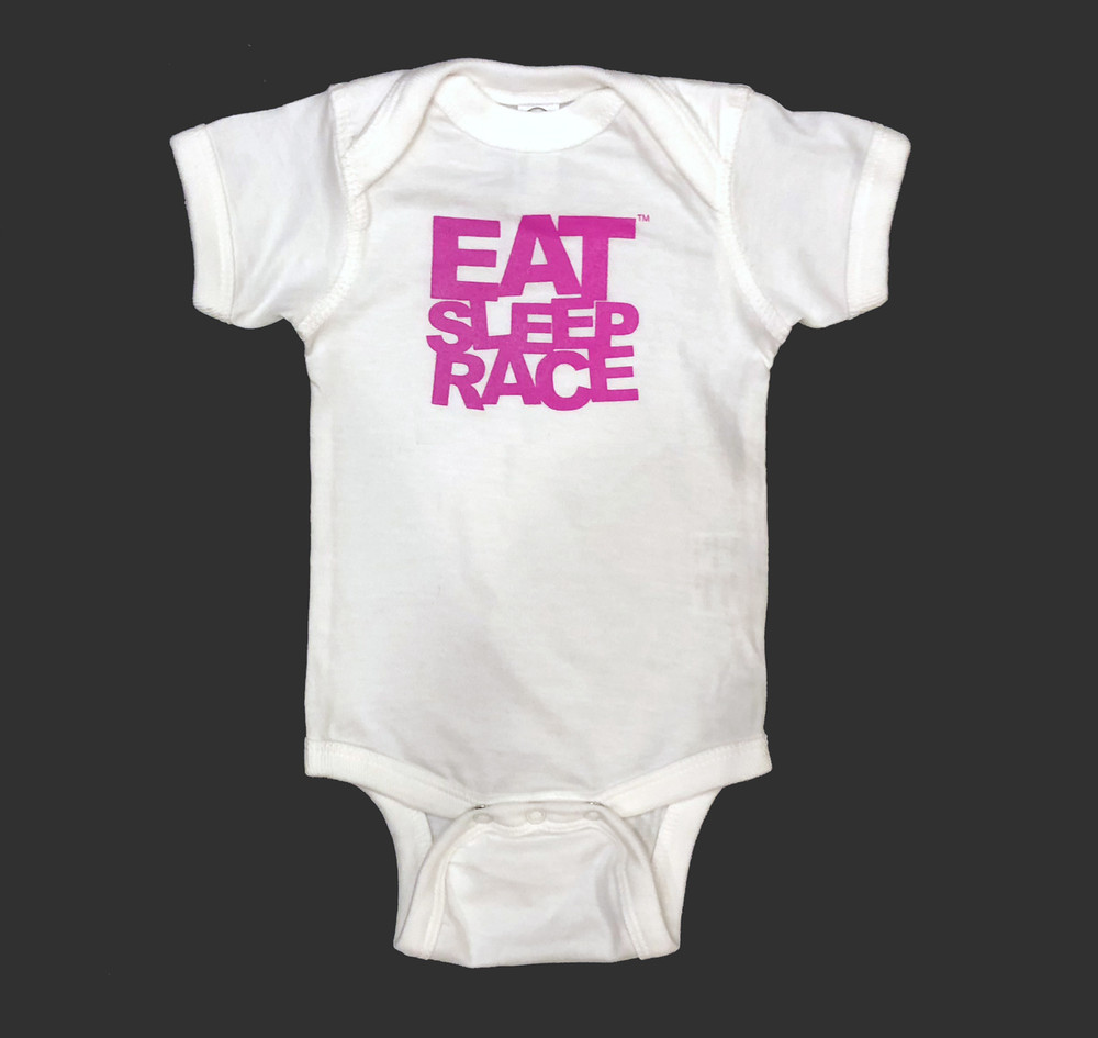 Infant One Piece Logo | White/Pink