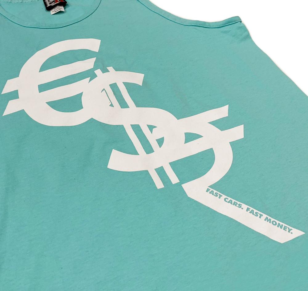Fast Money Tank Top | Aqua/White
