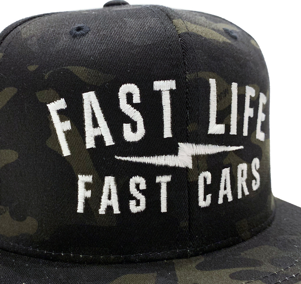 Fast Life Snapback Hat | Black Multicam