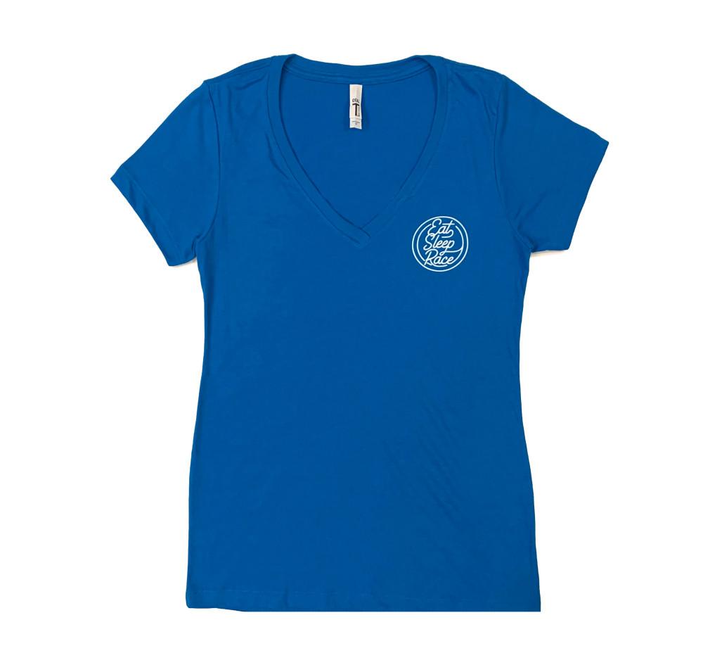 Ladies Neon V-Neck Shirt | Laser Blue/White