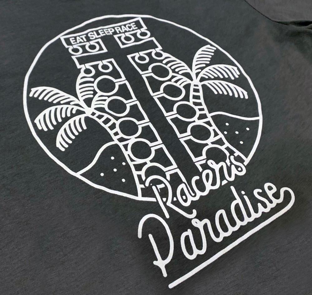 Ladies Racer's Paradise  V-Neck Shirt | Charcoal/White