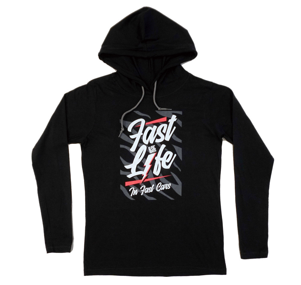 Ladies Fast Life Long Sleeve Hooded Shirt | Black