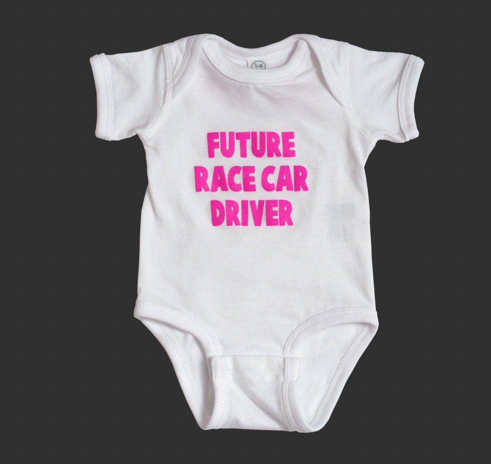 Infant One Piece Future Driver | White/Pink