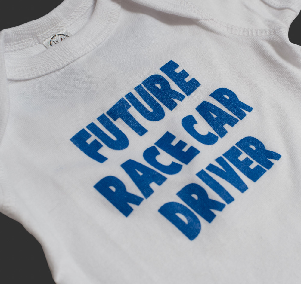 Infant One Piece Future Driver | White/Blue