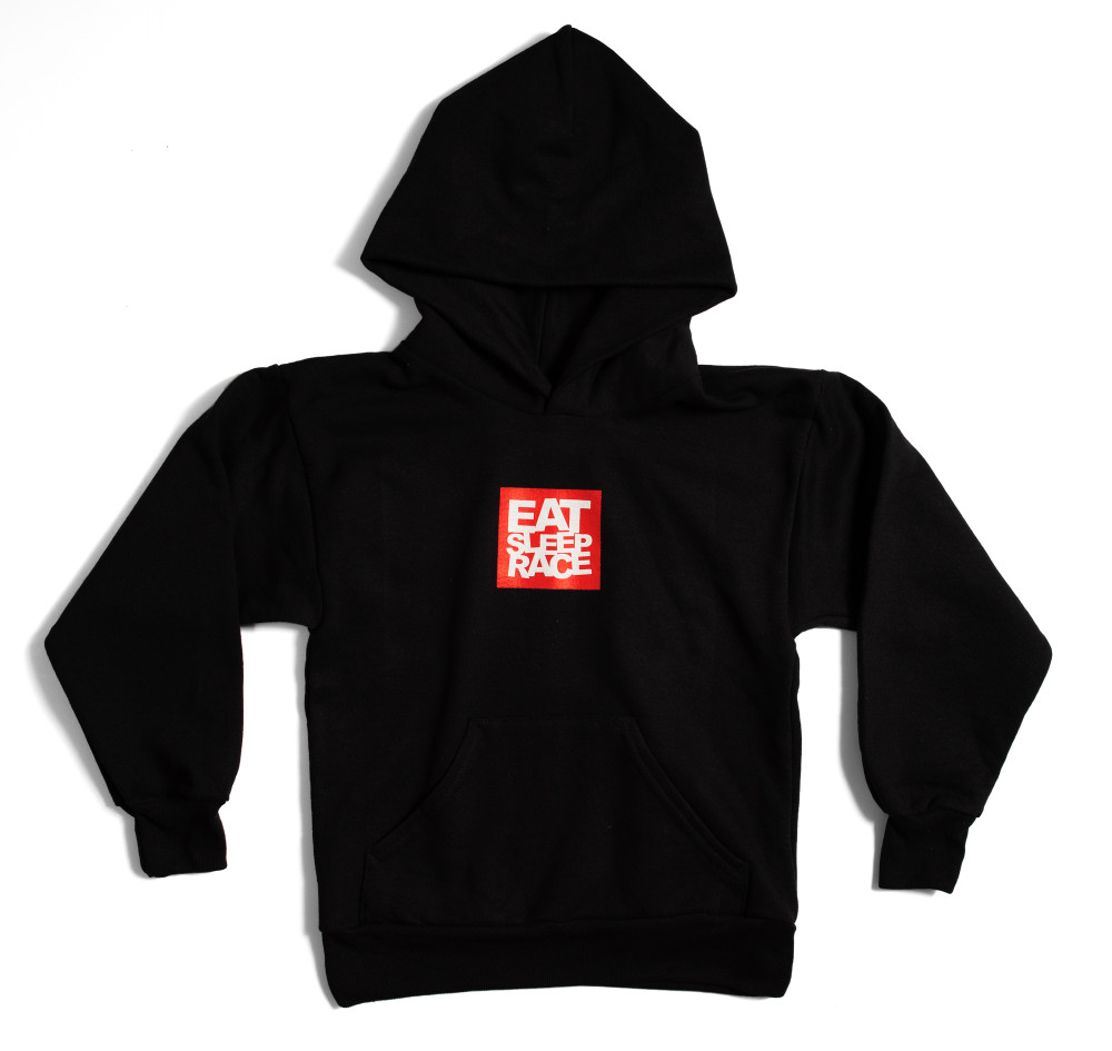 Kids Logo Square Pull Over Hoodie | Black/Red