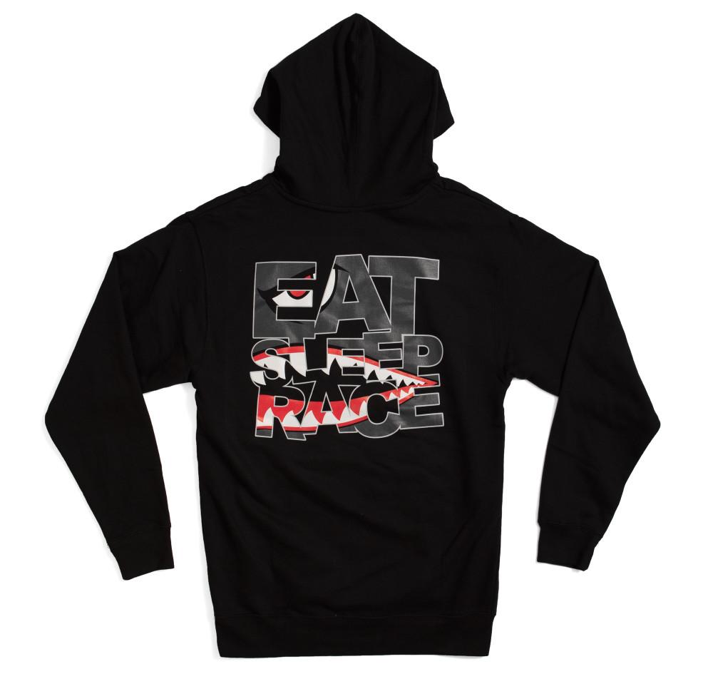 Pull Over Shark Logo Hoodie   Black
