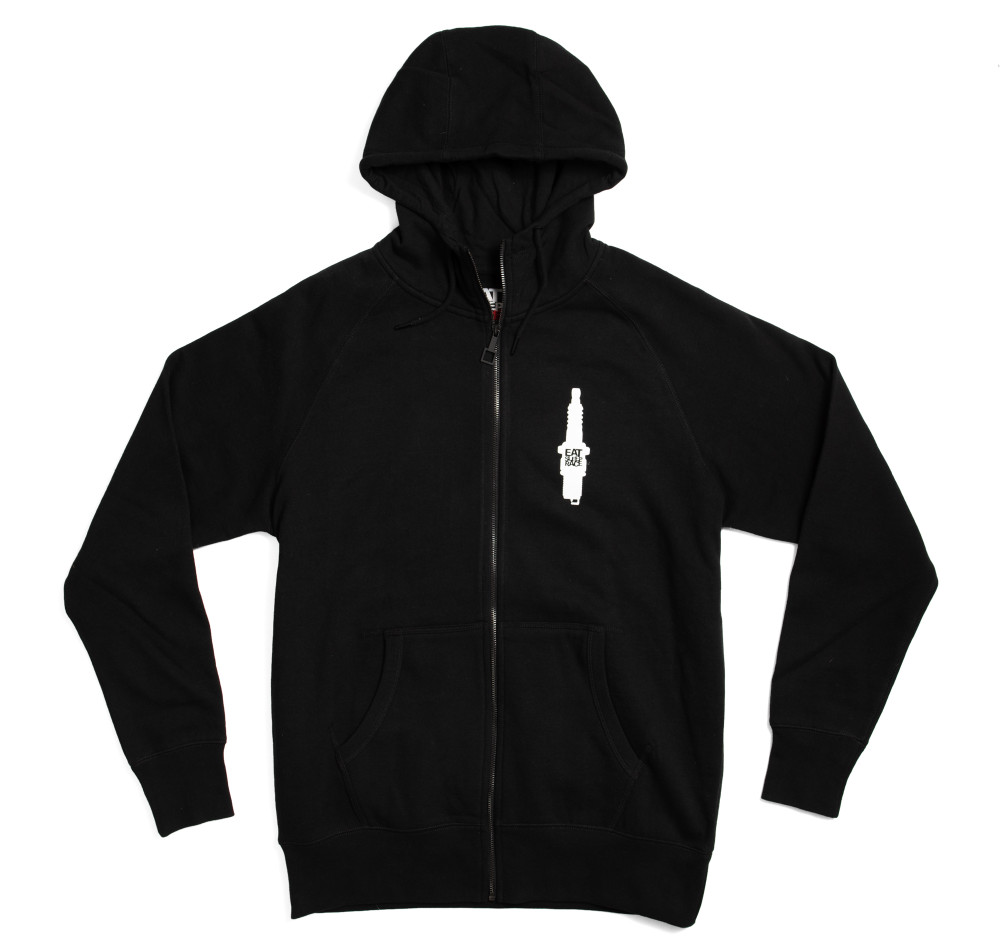 Zip Up Hoodie Spark Flag | Black