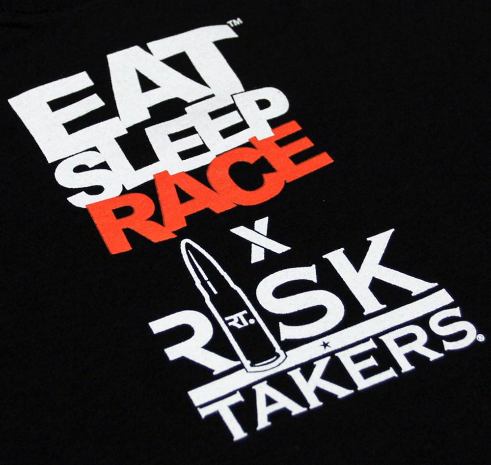EAT SLEEP RACE x Risk Takers T-Shirt | Gears Guns Glory