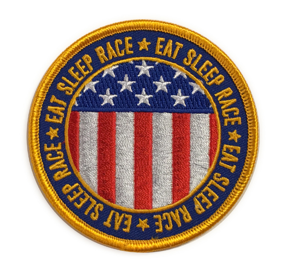 Embroidered Circle Flag Patch | Navy/Gold