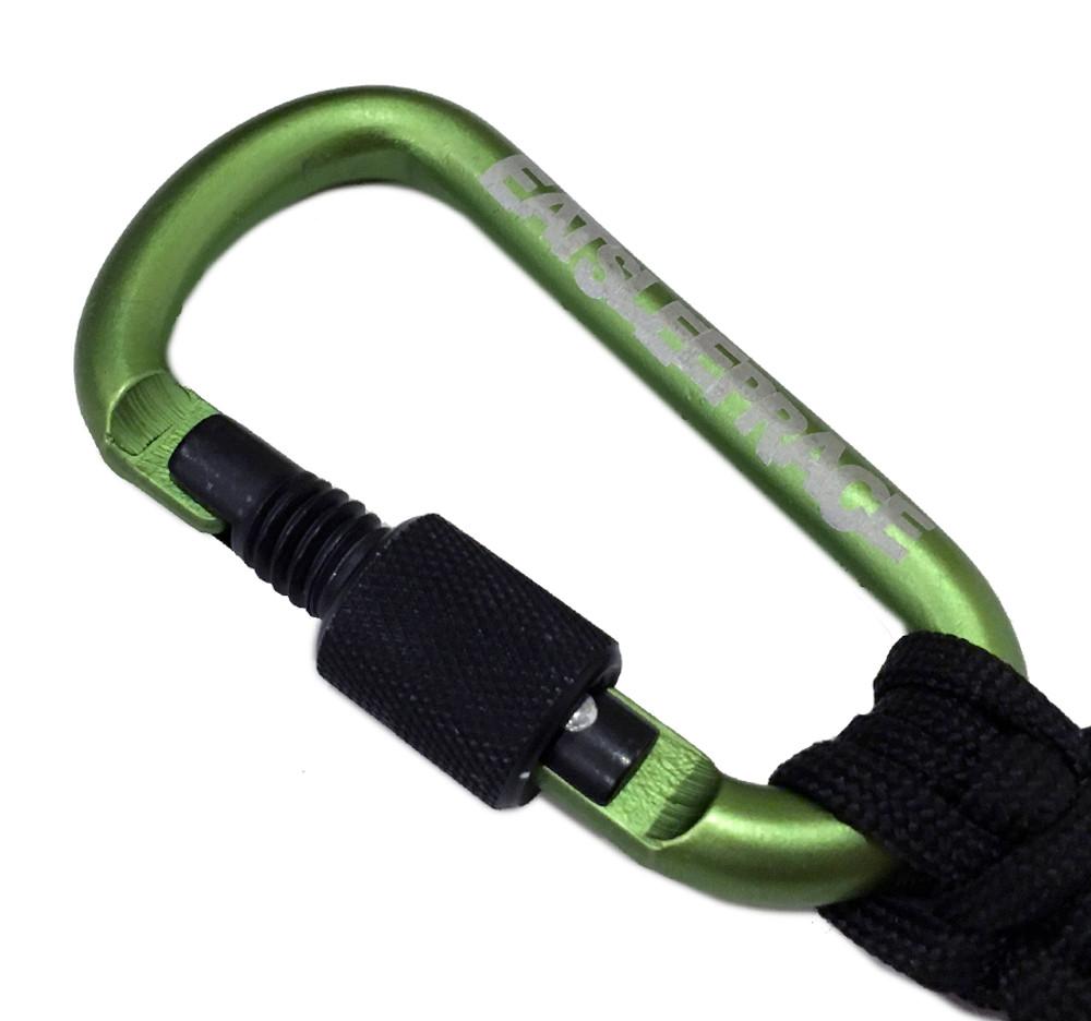 Locking Carabiner Paracord Keychain | Green