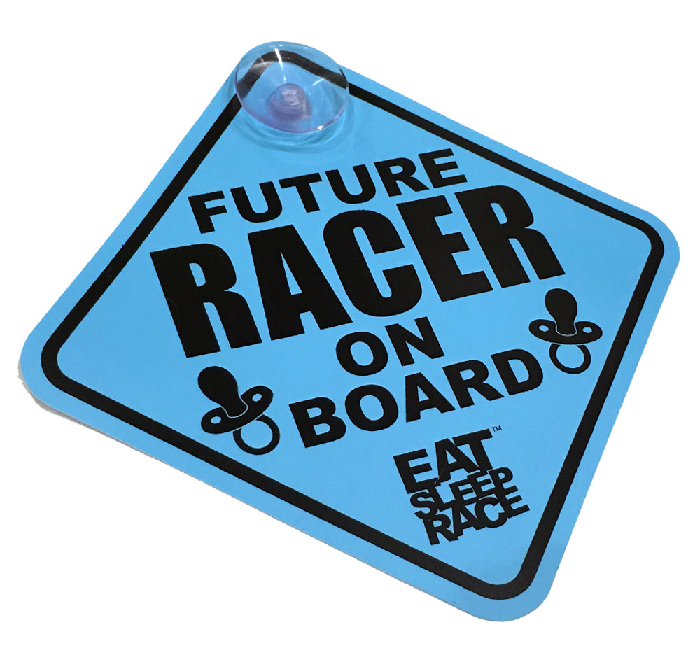 Future Racer on Board Car Sign | Blue