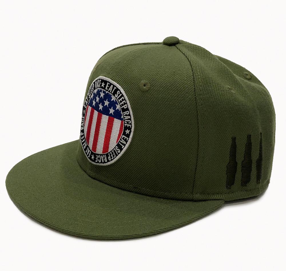 Circle Flag Snapback Hat | Olive