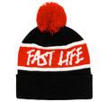 Fast Life Pom Beanie | Black/Red