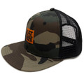 Logo Square Mesh Trucker Hat | Camo/Orange