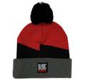 Bolt Pom Beanie | Red/Grey