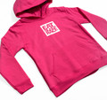 Kids Logo Square Pull Over Hoodie | Pink/White