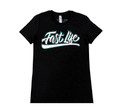 Ladies Fast Life Script Shirt | Black/Teal