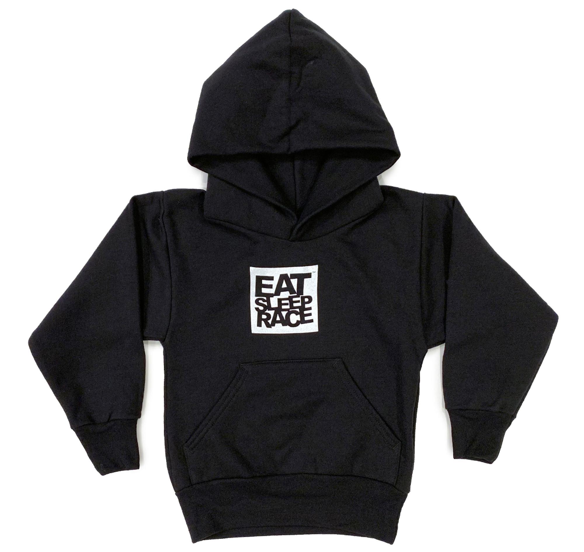 c4b7a37ab Kids Logo Square Pull Over Hoodie | Black/White - Eat Sleep Race - Racing  Lifestyle Apparel