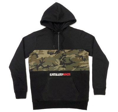 Half Zip Pull Over Hoodie Logo |  Black/Camo