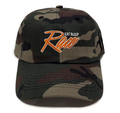 Script Sport Strapback Hat | Woodland Camo/Orange